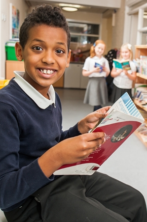 Pupils in the library at St Philips CE Primary School