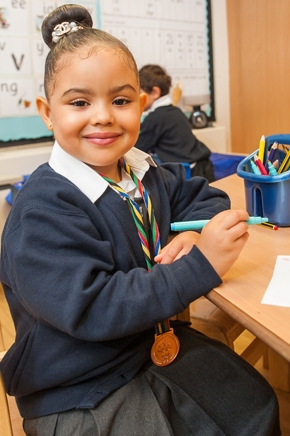 Pupil in a lesson at St Philip's CE Primary School