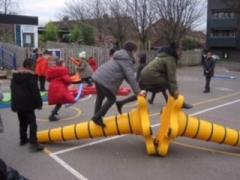 Children on the yellow cones