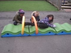 Children on the bumpy path