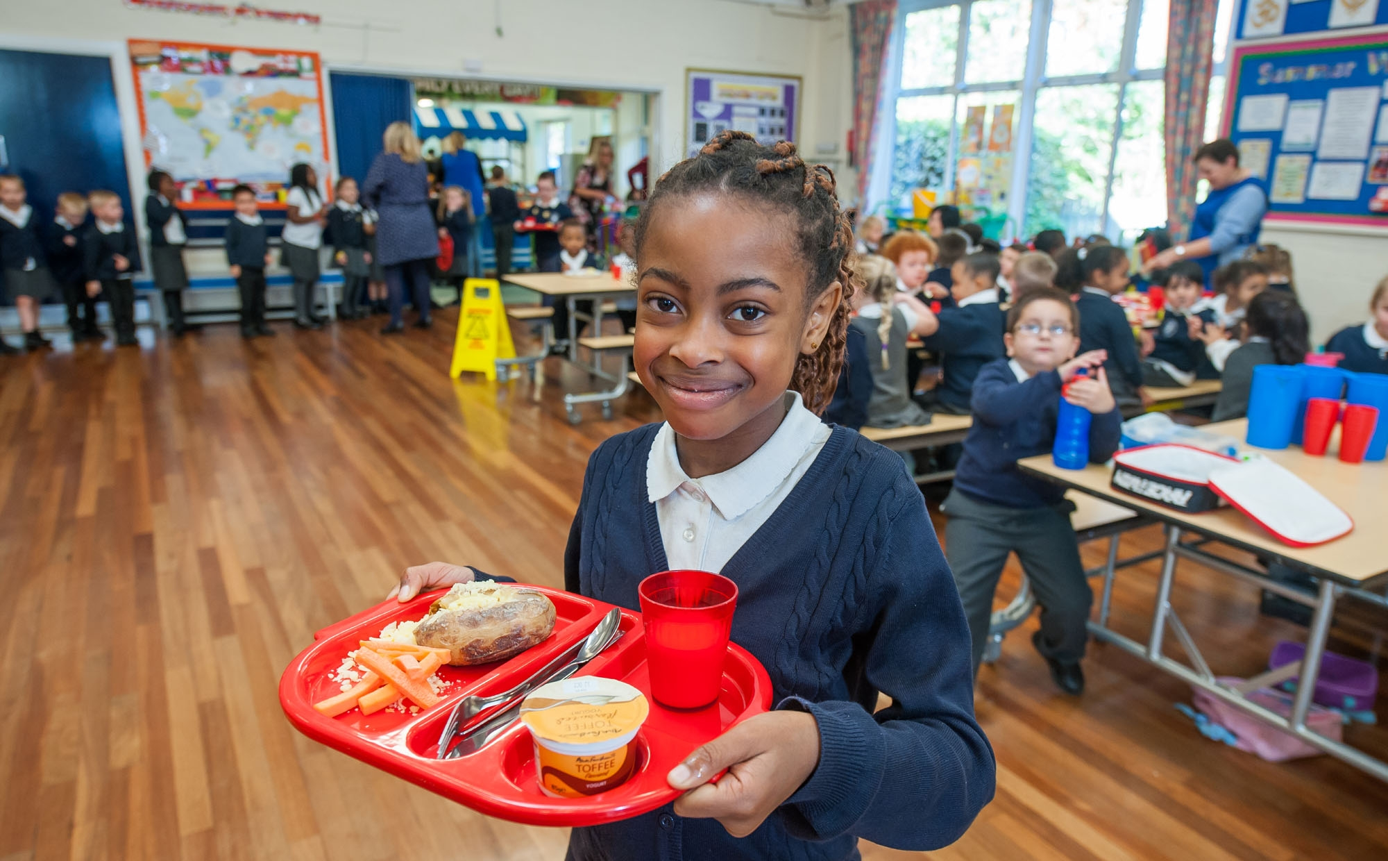 Pupil at lunchtime at St Philip's CE Primary School