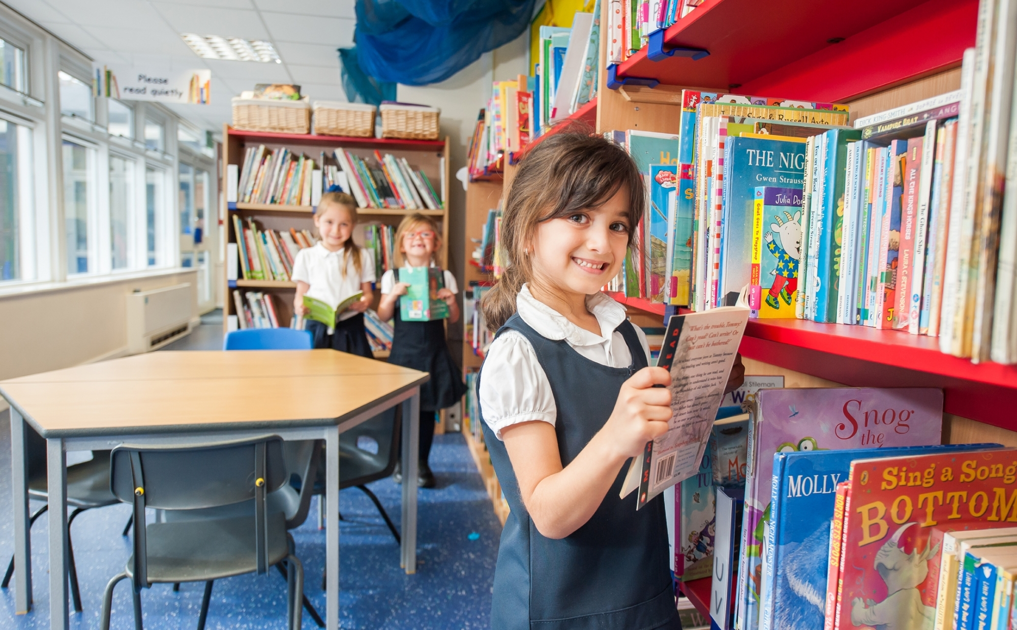 Pupils in the library at St Philip's CE Primary School